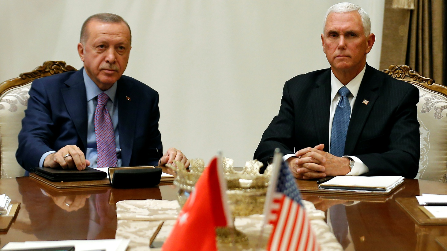 U.S. Vice President Mike Pence meets with Turkish President Tayyip Erdogan at the Presidential Palace in Ankara, Turkey, October 17, 2019.