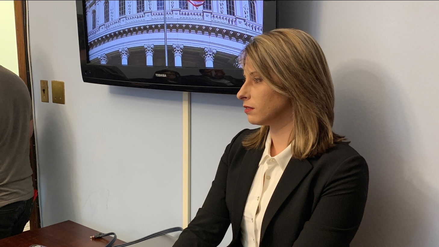 Katie Hill in Washington D.C. in January 2019. Now she has resigned from Congress and is suing over intimate photos of her that were leaked.