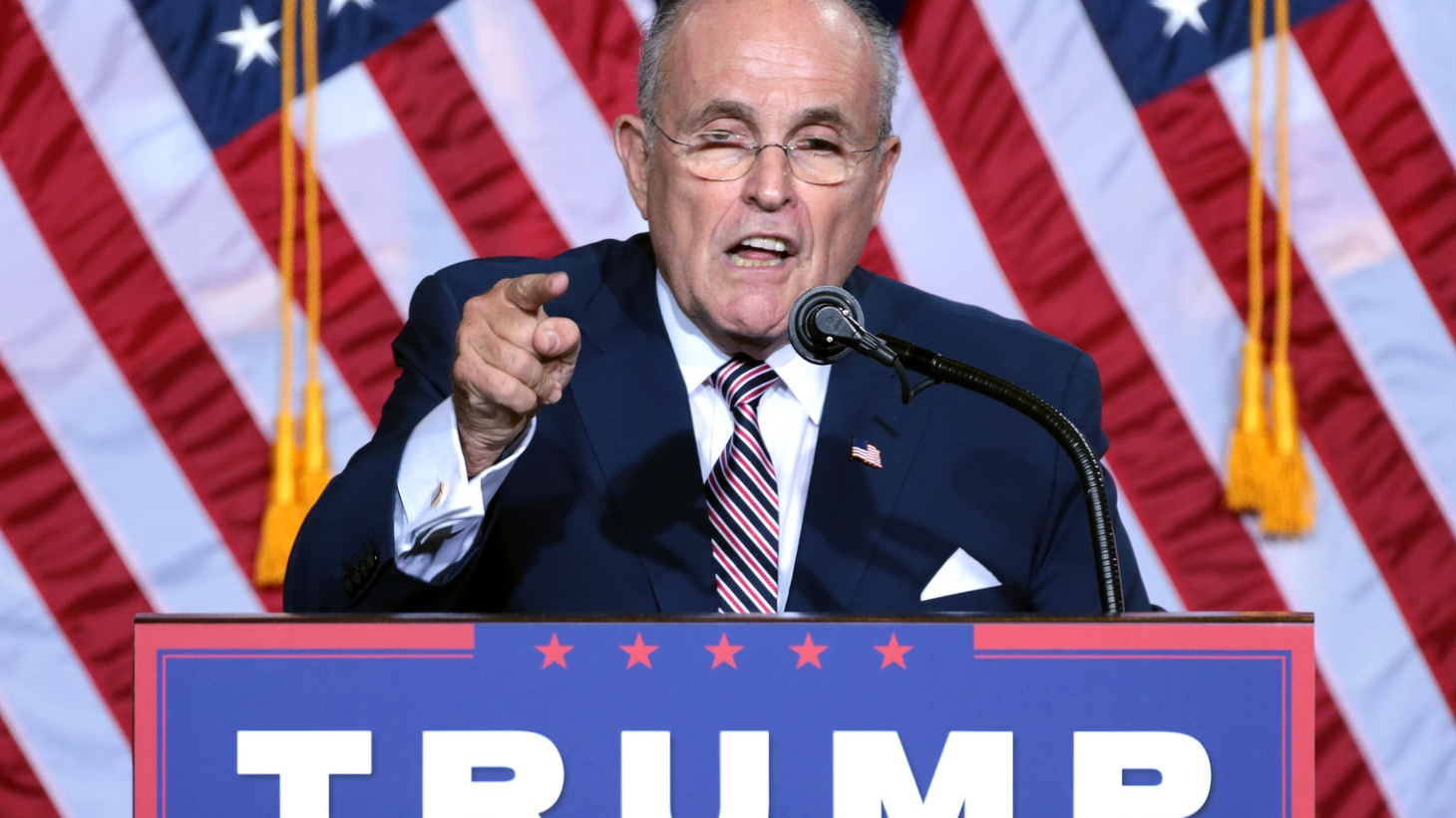 Former Mayor Rudy Giuliani of New York City speaking to supporters at an immigration policy speech hosted by Donald Trump at the Phoenix Convention Center in Phoenix, Arizona.