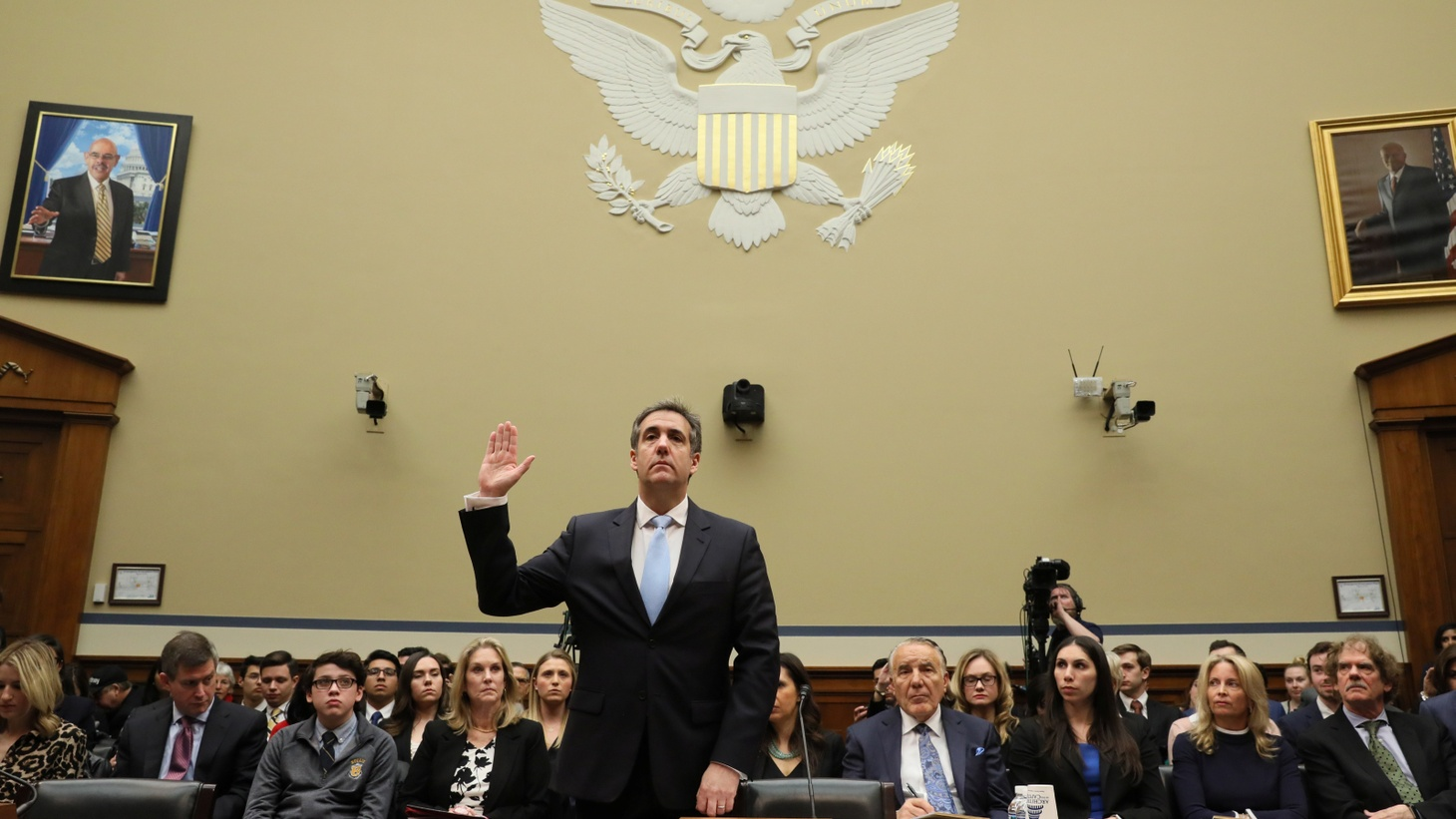 Michael Cohen, the former personal attorney of U.S. President Donald Trump, is sworn in to testify before a House Committee on Oversight and Reform hearing on Capitol Hill in Washington, U.S., February 27, 2019.