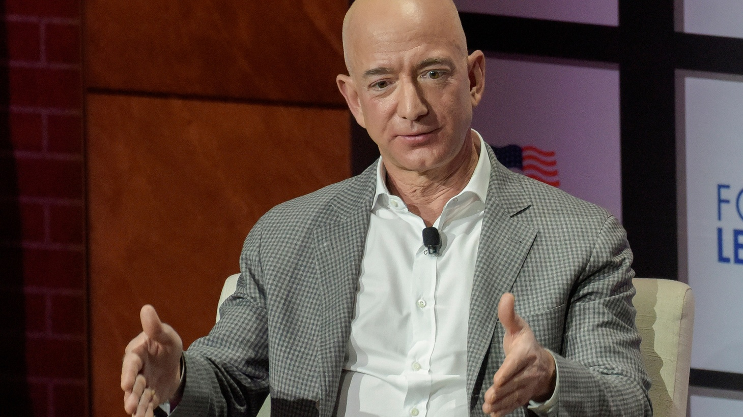 Jeff Bezos, Chairman and CEO of Amazon, speaks at the George W. Bush Presidential Center's Forum on Leadership in Dallas, Texas, U.S., April 20, 2018. Picture taken on April 20, 2018