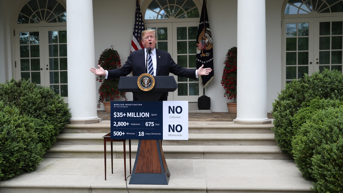 U.S. President Donald Trump speaks about the investigation by Special Counsel Robert Mueller in the Rose Garden at the White House in Washington, U.S., May 22, 2019.