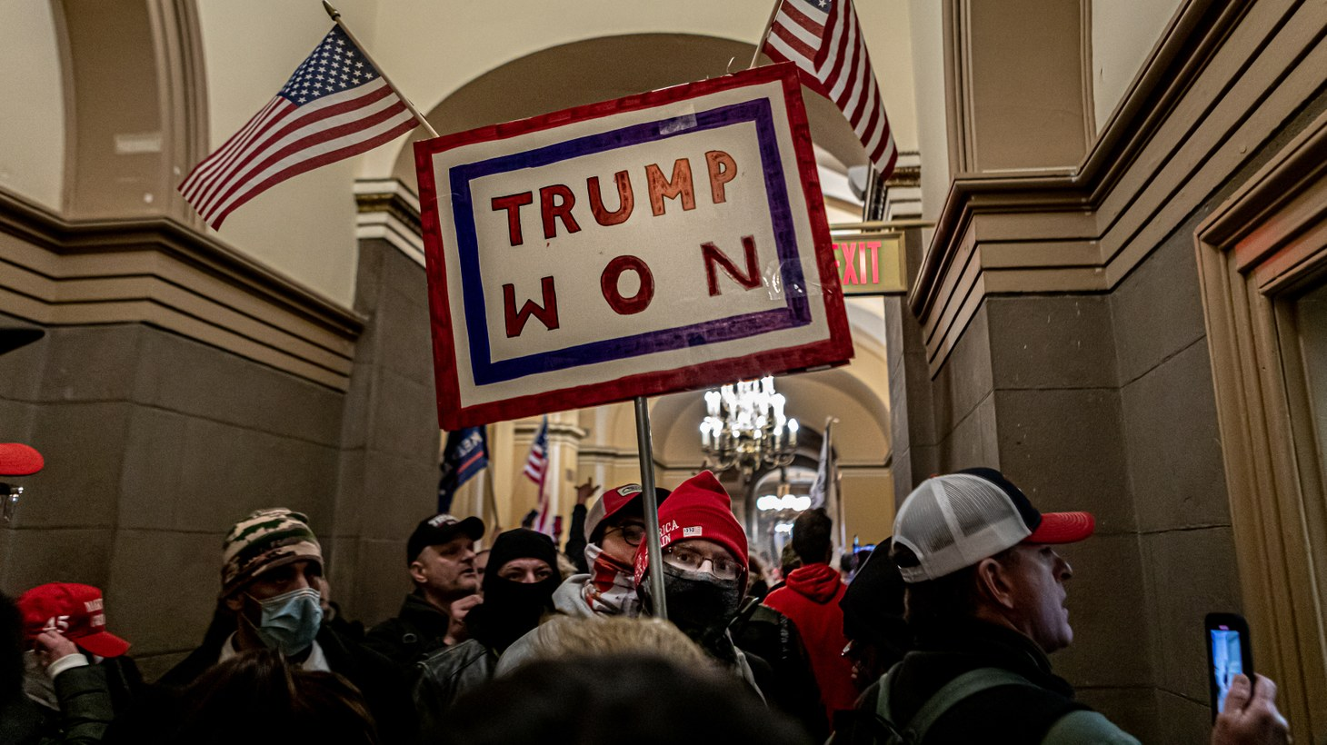 On January 6, 2021, Pro-Trump supporters and far-right forces flooded Washington DC to protest Donald Trump's election loss. Hundreds battled Capitol Police and breached the U.S. Capitol Building.