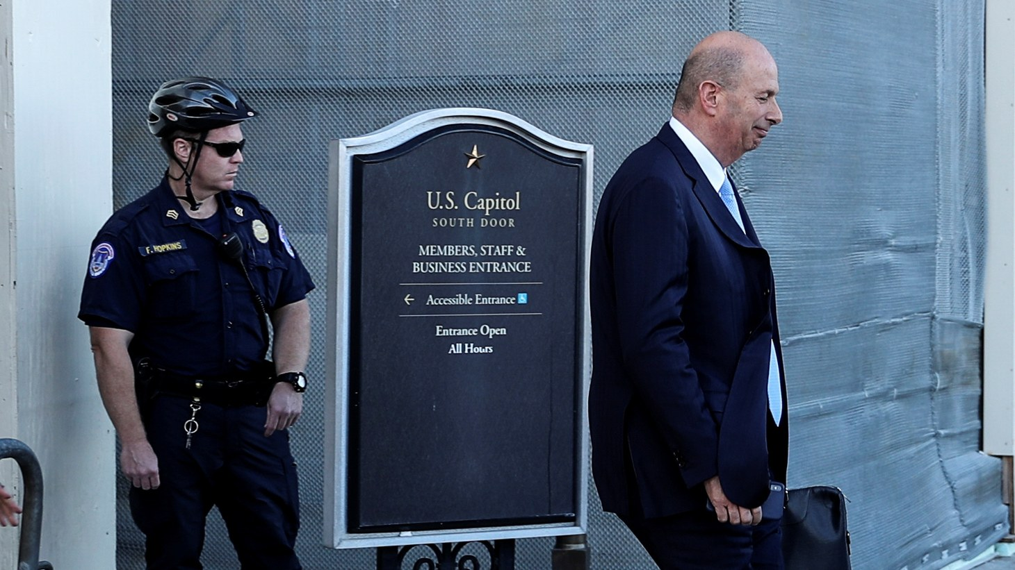 U.S. Ambassador to the European Union Gordon Sondland departs after testifying at a closed-door deposition as part of the U.S. House of Representatives impeachment inquiry into U.S. President Trump led by the House Intelligence, House Foreign Affairs and House Oversight and Reform Committees on Capitol Hill in Washington, U.S., October 28, 2019.