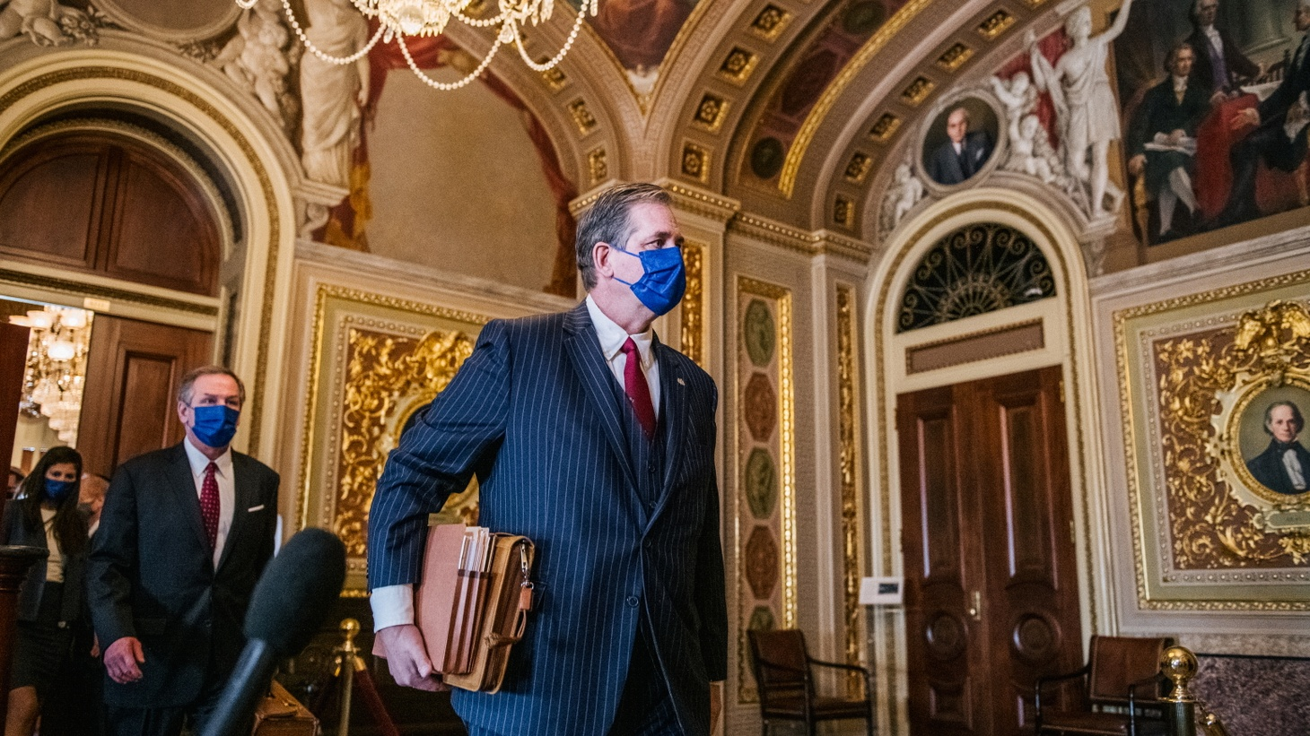 Attorney Bruce Castor walks through The Senate Reception Room ahead of the second day of former U.S. President Donald Trump's second impeachment trial in Washington, U.S., February 10, 2021.