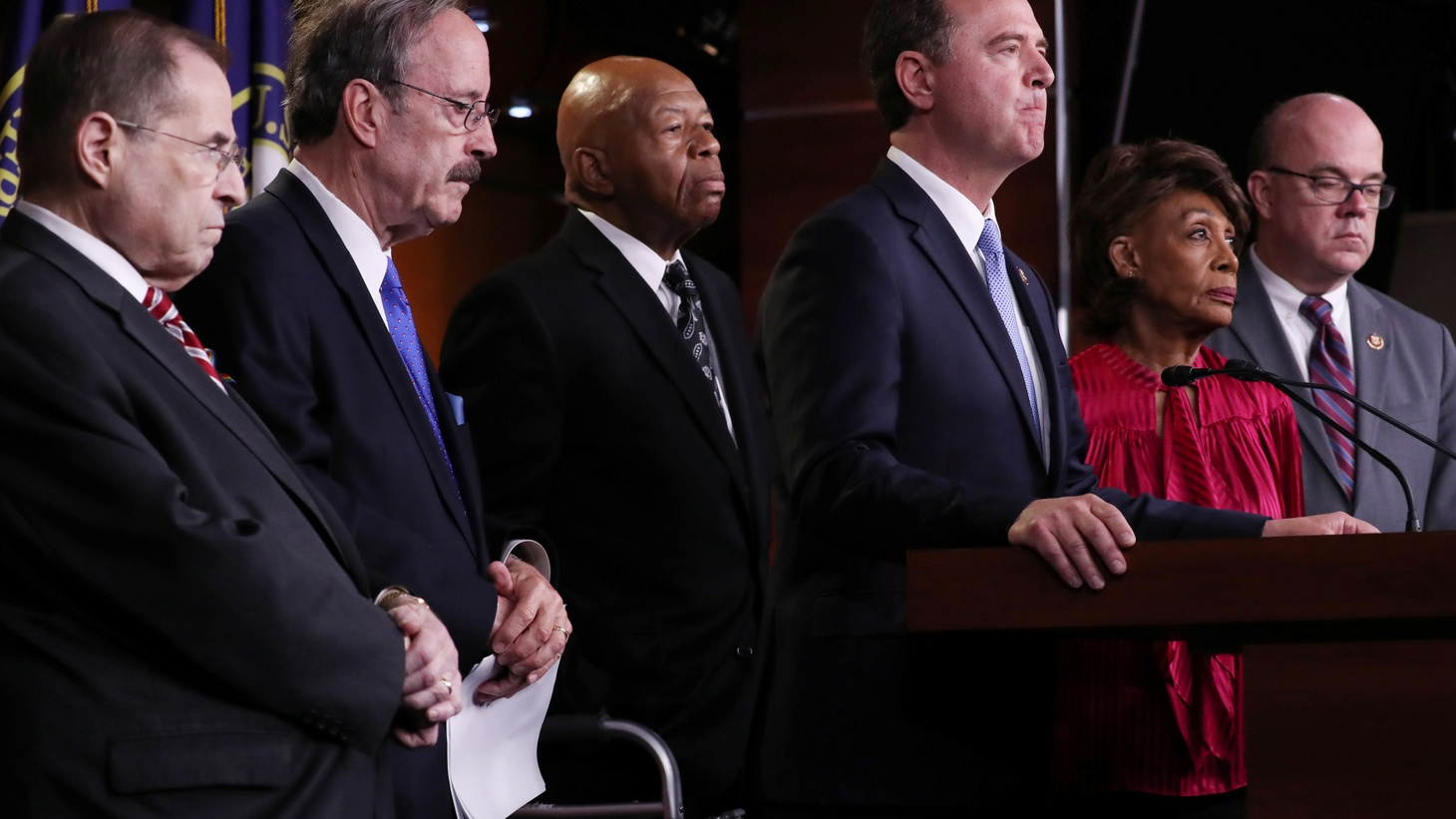 Democratic U.S. House committee chairmen Representative Jerrold Nadler (D-NY), Rep. Eliot Engel (D-NY), Rep. Elijah Cummings (D-MD), Rep. Adam Schiff (D-CA), Rep. Maxine Waters (D-CA) and Rep. Jim McGovern (D-MA) hold a news conference to discuss their investigations into the Trump administration on Capitol Hill in Washington, U.S. June 11, 2019.