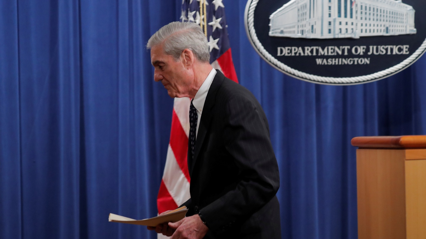 U.S. Special Counsel Robert Mueller departs after delivering a statement on his investigation into Russian interference in the 2016 U.S. presidential election at the Justice Department in Washington, U.S., May 29, 2019.