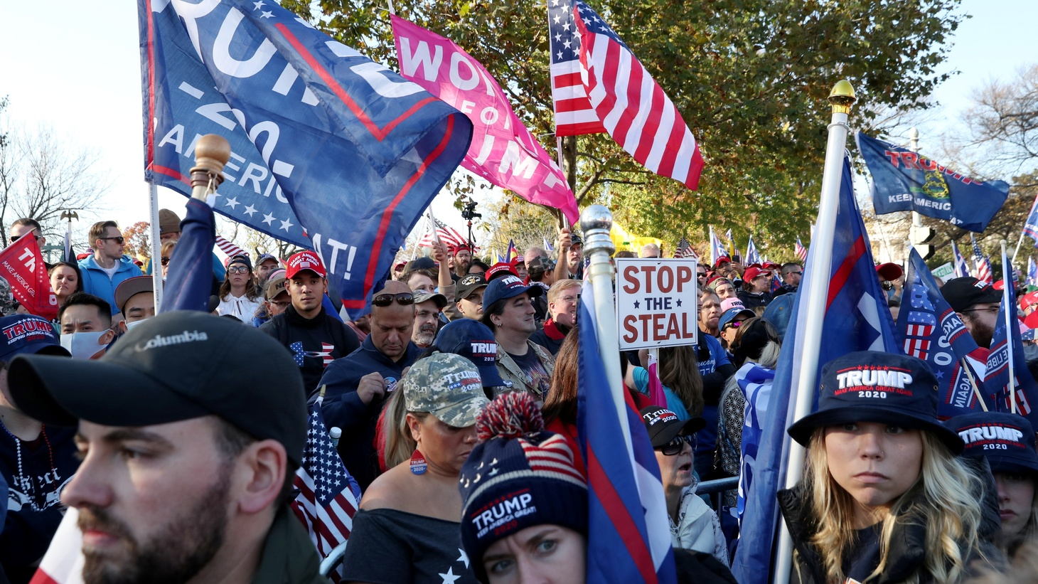People rally outside of the U.S. Supreme Court in support of U.S. President Trump in Washington, U.S., November 14, 2020. Picture taken November 14, 2020.