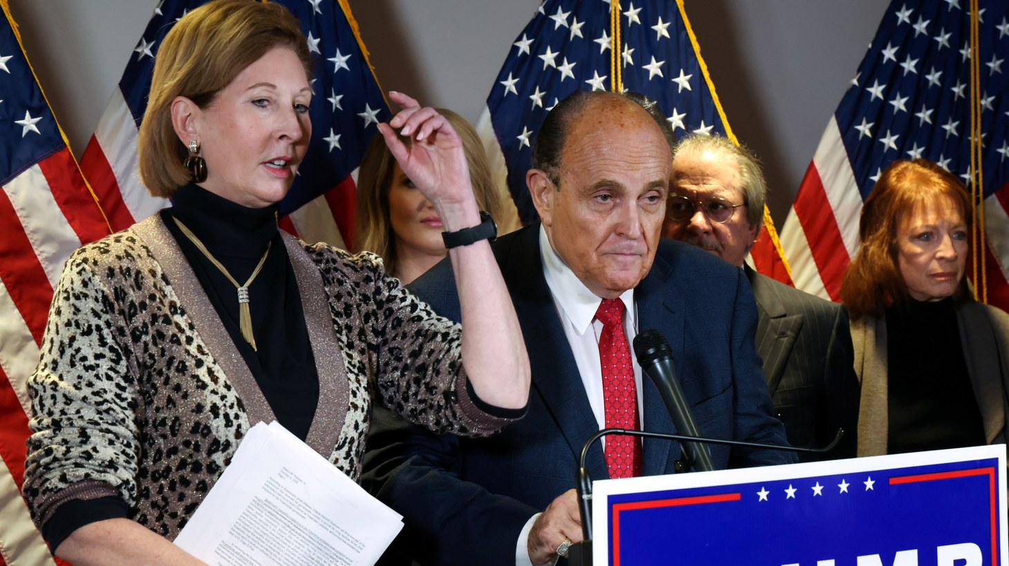 Sidney Powell, an attorney later disavowed by the Trump campaign, participates in a news conference with U.S. President Donald Trump's personal lawyer Rudy Giuliani at the Republican National Committee headquarters on Capitol Hill in Washington, U.S. November 19, 2020. Picture taken November 19, 2020.