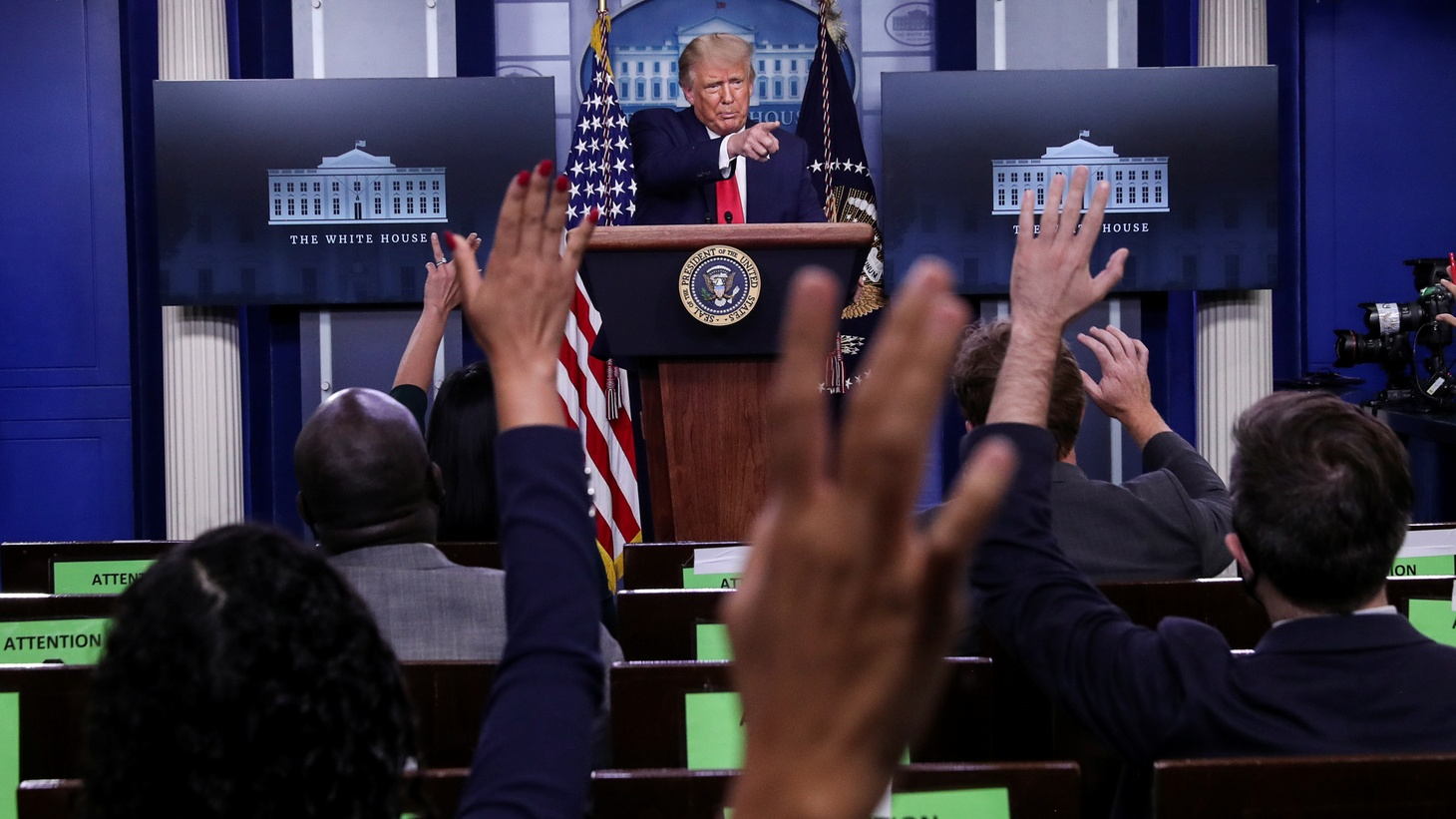 U.S. President Donald Trump takes questions during a news conference in the Brady Press Briefing Room at the White House in Washington, U.S., September 16, 2020.