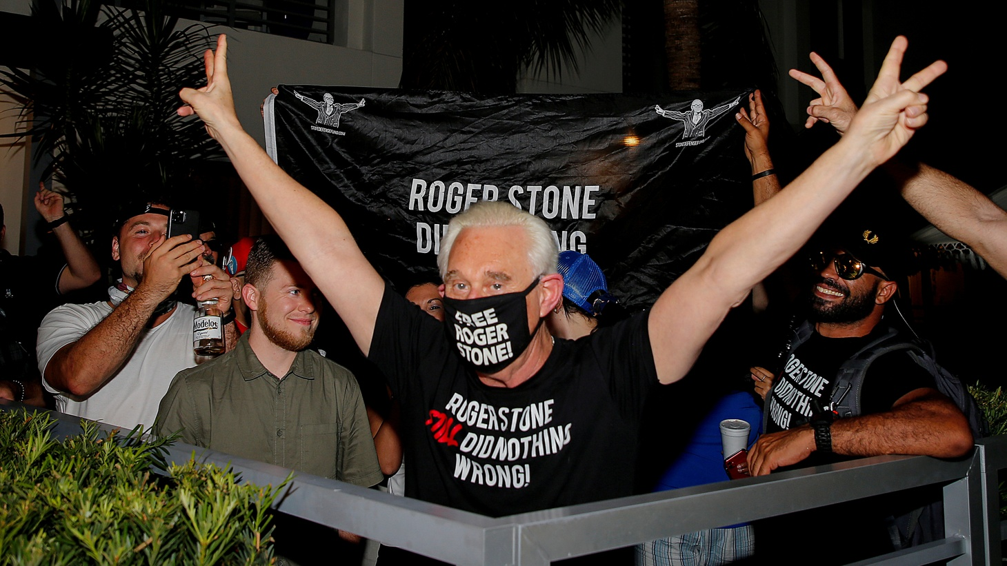 Roger Stone, a longtime friend and adviser of U.S. President Donald Trump, reacts after Trump commuted his federal prison sentence, outside his home in Fort Lauderdale, Florida, U.S. July 10, 2020.