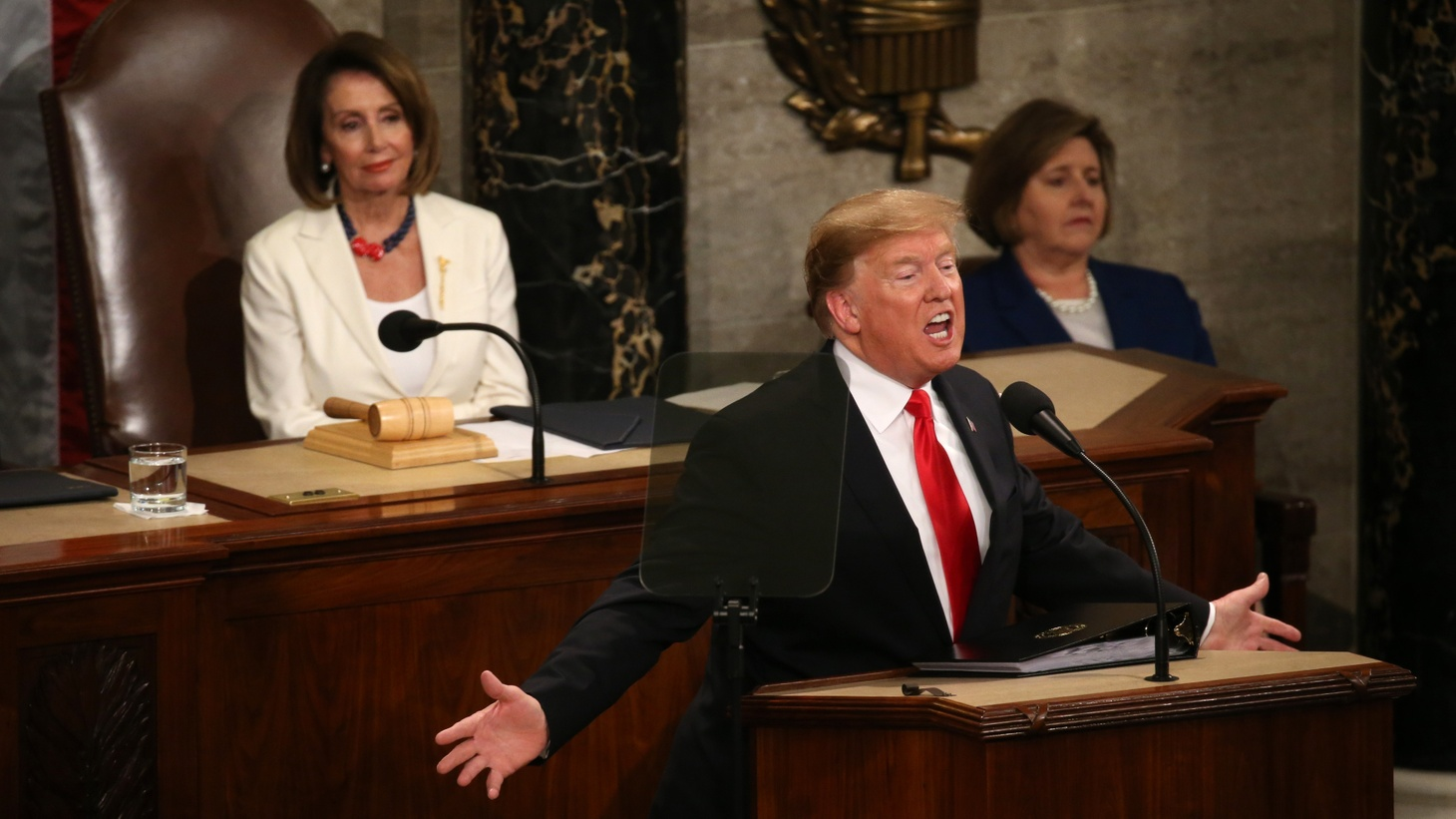 Speaker of the House Nancy Pelosi (D-CA) watches as U.S. President Donald Trump delivers his second State of the Union address to a joint session of the U.S. Congress in the House Chamber of the U.S. Capitol on Capitol Hill in Washington, U.S. February 5, 2019.