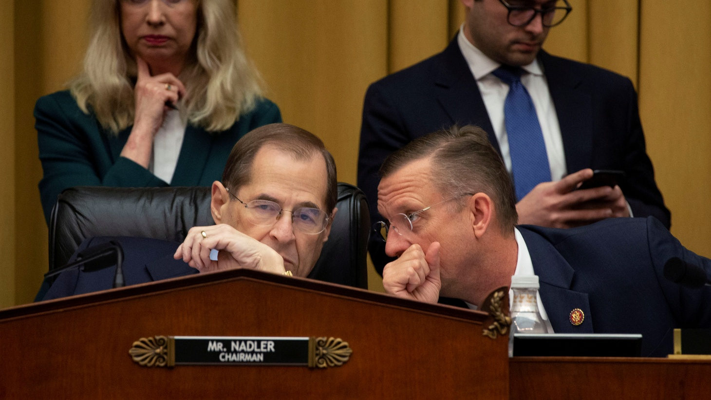 U.S. House of Representatives Judiciary Committee Chairman Jerry Nadler (D-NY) speaks with ranking Republican member Rep Doug Collins (R-GA) as the committee debates before voting to subpoena Special Counsel Robert Mueller's full unredacted report and the underlying evidence from his investigation into alleged Russian meddling in the 2016 election, on Capitol Hill in Washington, U.S., April, 3, 2019.