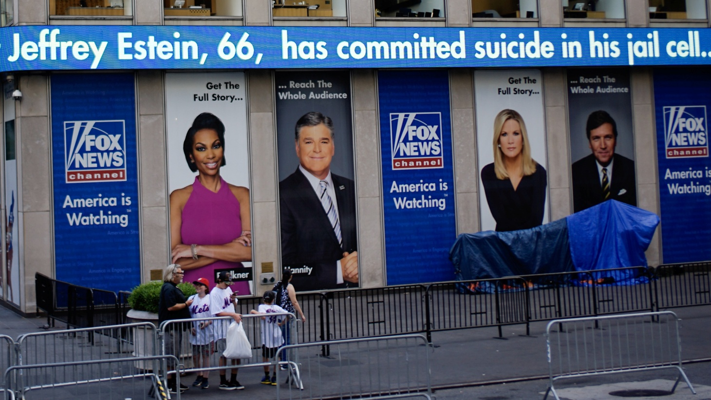 The Fox News electronic ticker at the News Corporation building shows the news about Jeffrey Epstein after he was found dead in his cell in the Manhattan Correctional Center of New York City, New York, U.S., August 10, 2019.