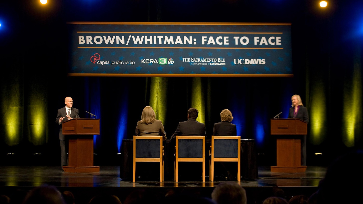 KCRW presents live coverage of the debate between Republican Meg Whitman and Democrat Jerry Brown, on Tuesday, September 28 from 6-7pm.