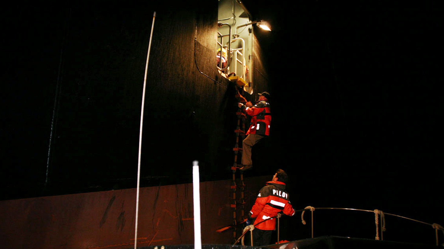 As ships get bigger, a pilot's job gets more difficult. Take a nighttime ride with Captains Mark Coynes and Bob Lukowski, as they park one of the largest ships ever to come into the Port of Long Beach. 