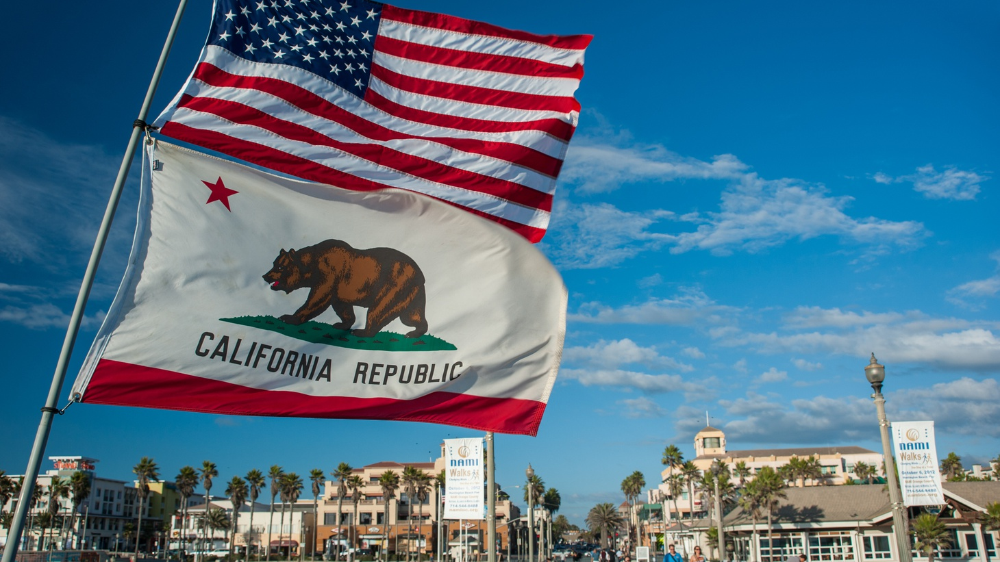 American and Californian flag flying at the beach.