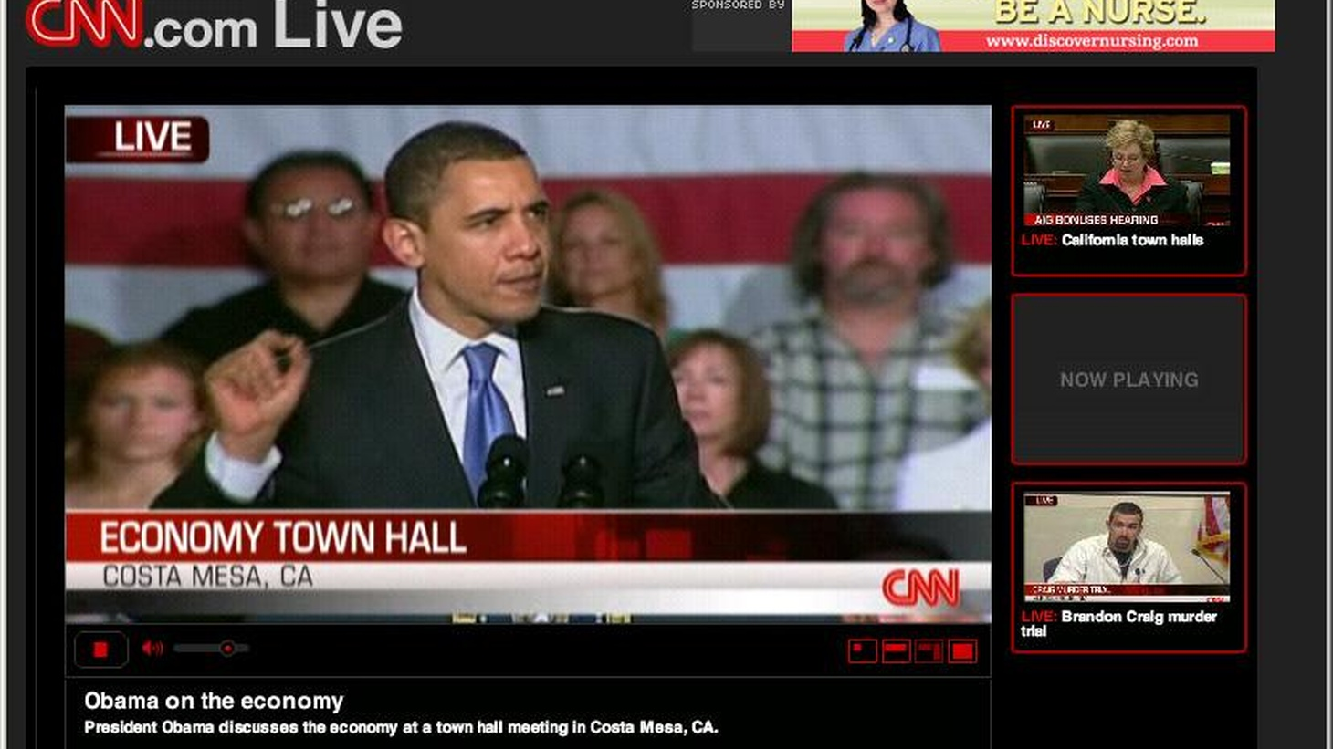 In his first trip to California since becoming President, Barack Obama has scheduled a series of Town Hall meetings.  T oday in Costa Mesa, he is expected to explain his economic plans. KCRW will provide live streaming audio of the meeting at 4pm on KCRW.com. (We will also stream tomorrow's Town Hall meeting near Downtown Los Angeles at 1pm.)   Warren Olney will present highlights of the meeting on tonight at 7pm on Which Way, L.A.?.