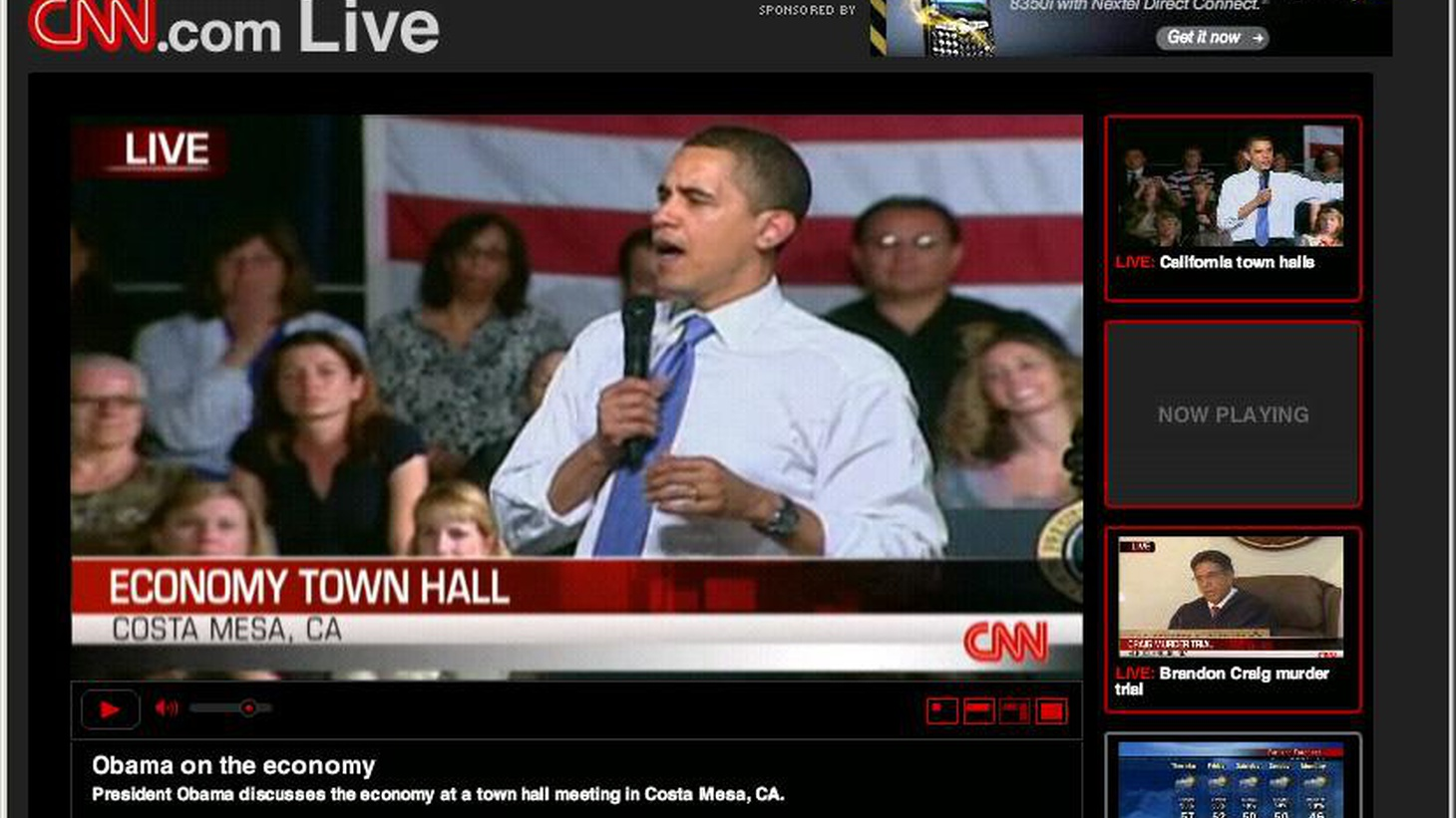 President Barack Obama has begun a series of Town Hall meetings, the first of which was yesterday, Wednesday,  in Costa Mesa. Today, he holds a second meeting near downtown Los Angeles. KCRW will provide live streaming audio of the meeting at 1pm.