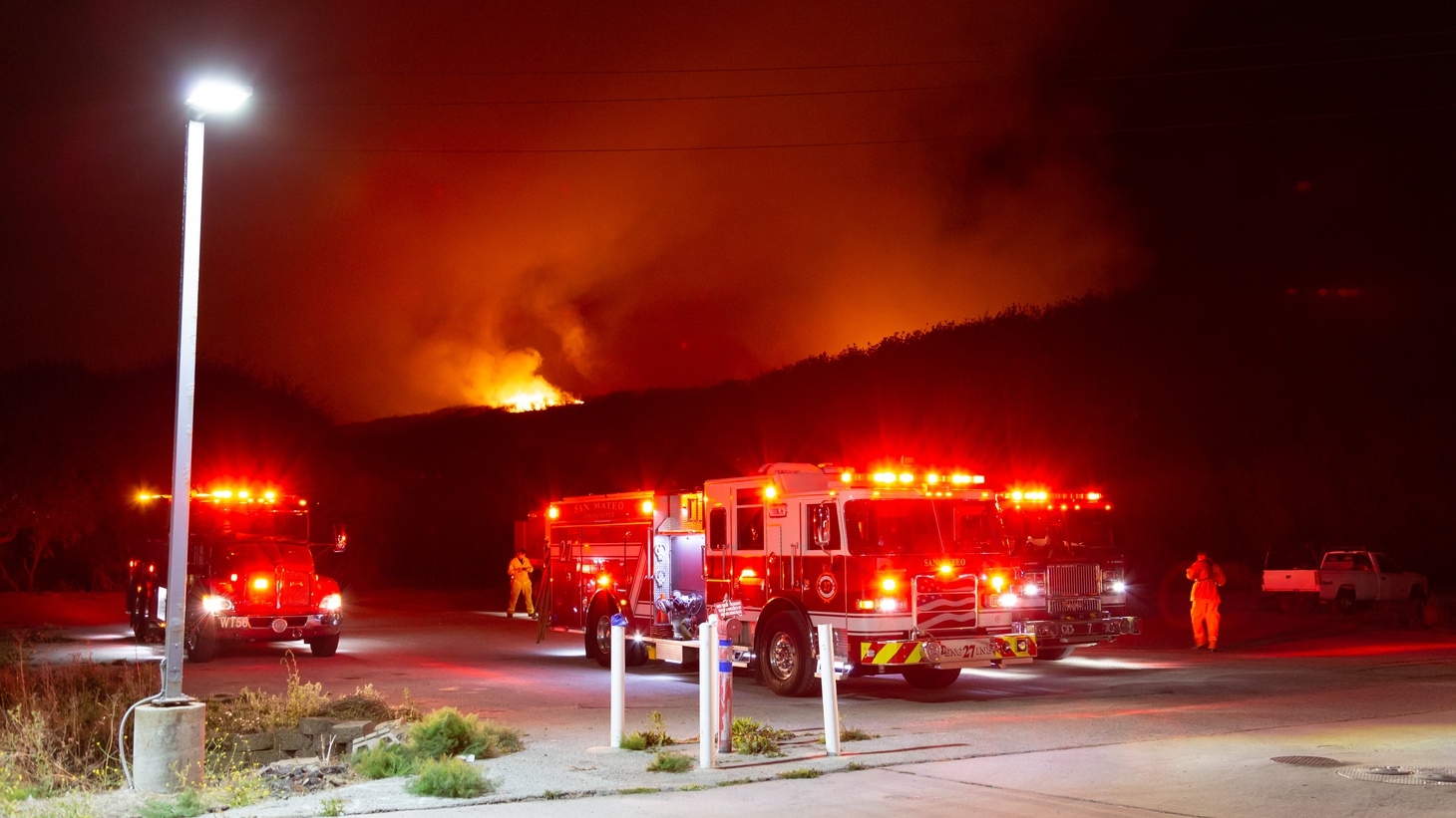 Wildland Firefighters on the scene of the Cabrillo Fire near Butano State Park, October 24 2019.