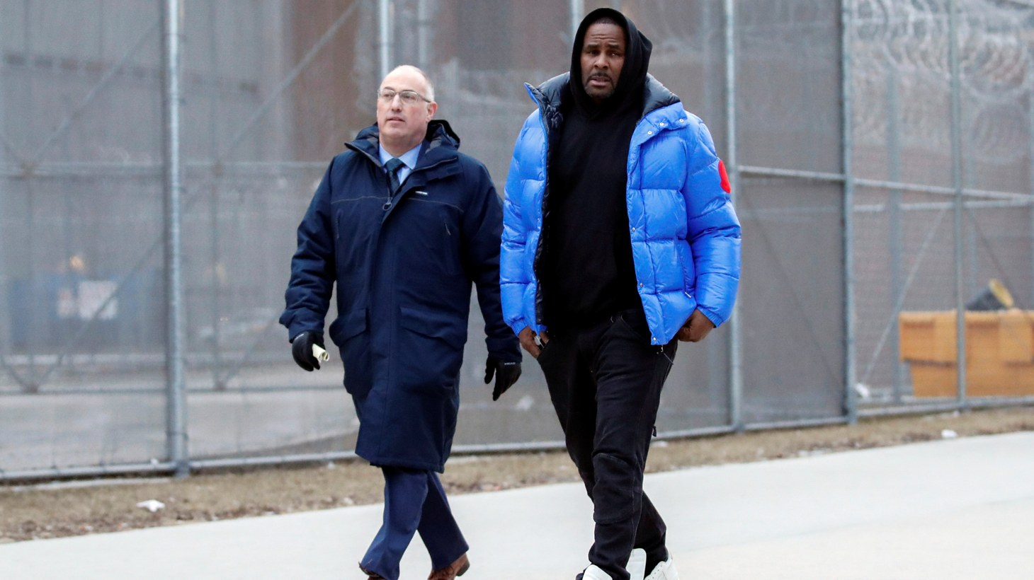 R. Kelly leaves Cook County jail with his defense attorney, Steve Greenberg in Chicago, Illinois, U.S., February 25, 2019.