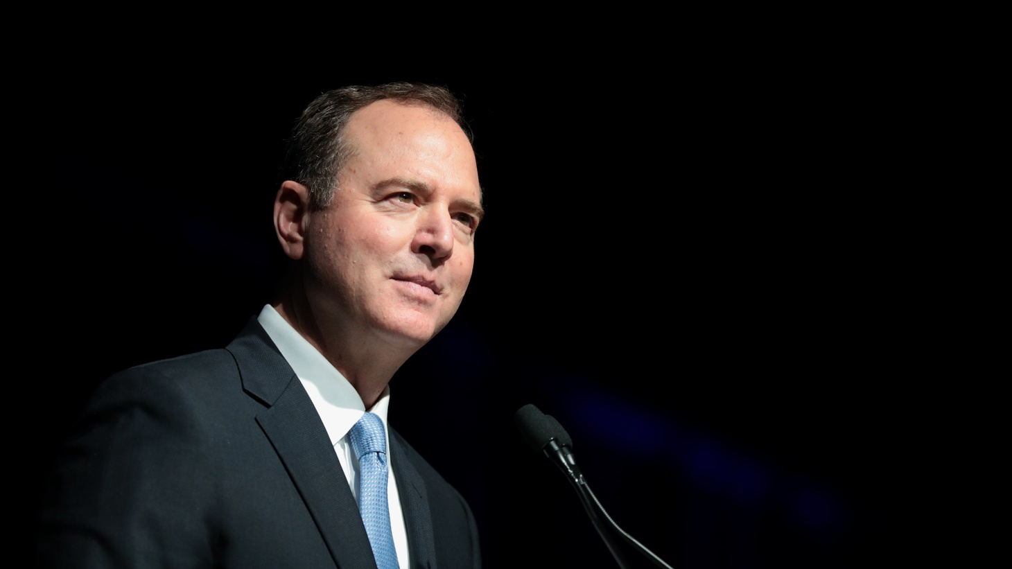 U.S. Congressman Adam Schiff speaking with attendees at the 2019 California Democratic Party State Convention in San Francisco.