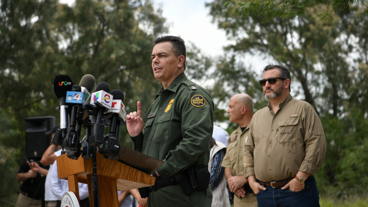 Rodolfo Karisch, Rio Grande Valley sector chief patrol agent for the U.S. Border Patrol, addresses members of the media with Senator Ted Cruz (R-TX) during a 'Border Safety Initiative' event in Mission, Texas, U.S., July 1, 2019.