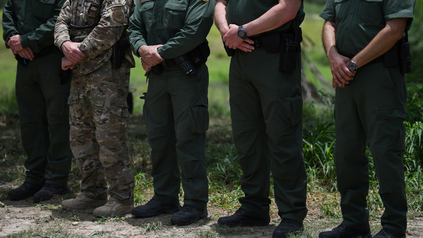 U.S. Border Patrol agents stand at attention during a 'Border Safety Initiative' media event at the U.S.-Mexico border in Mission, Texas, U.S., July 1, 2019.