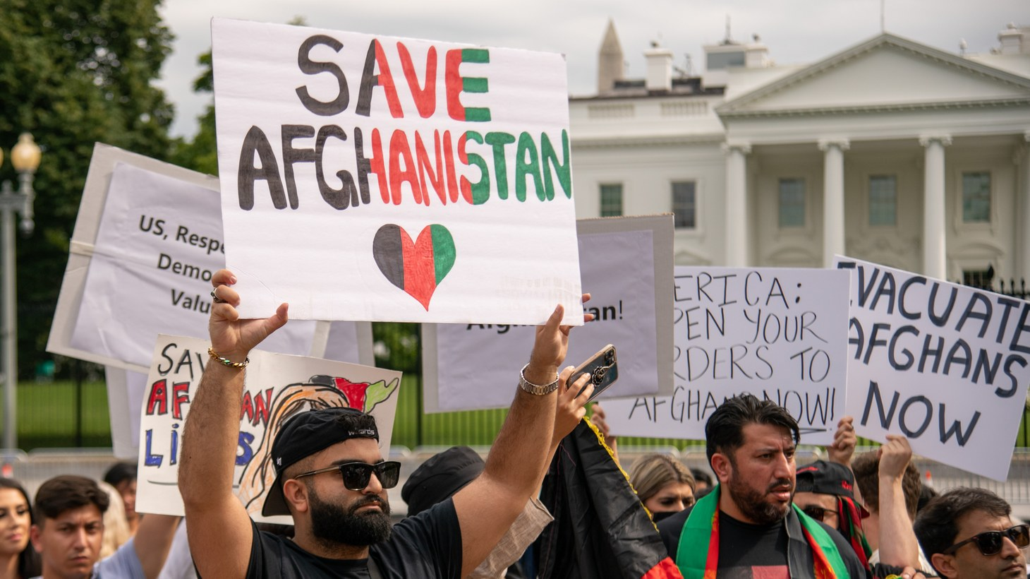 Protesters gather in support of the Afghan people in Lafayette Square in Washington, D.C. on August 15, 2021. This protest occurred hours after the Taliban gained control of the city of Kabul, Afghanistan's capital.