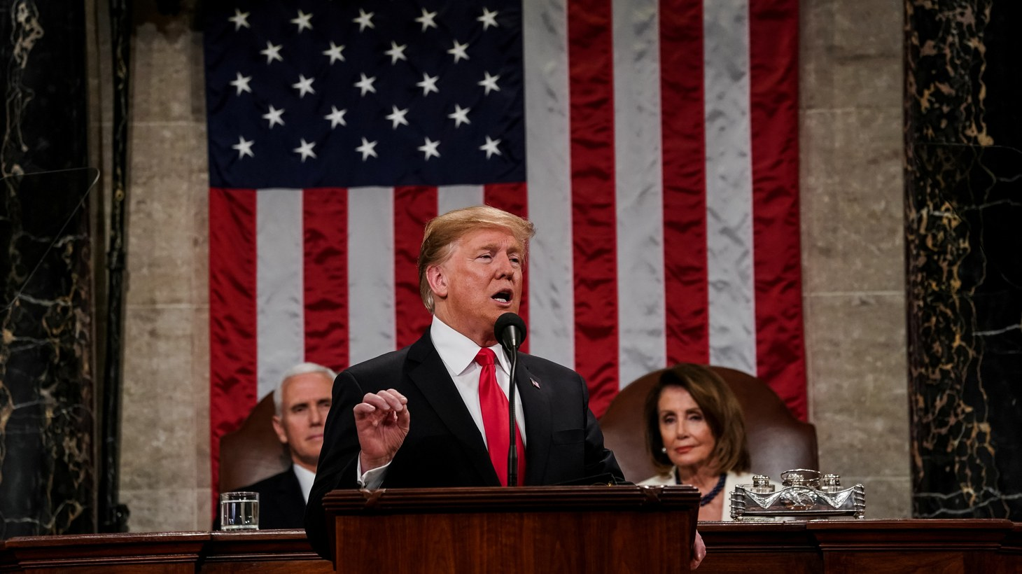 President Donald Trump delivered the State of the Union address, with Vice President Mike Pence and Speaker of the House Nancy Pelosi, at the Capitol in Washington, DC on February 5th, 2019.
