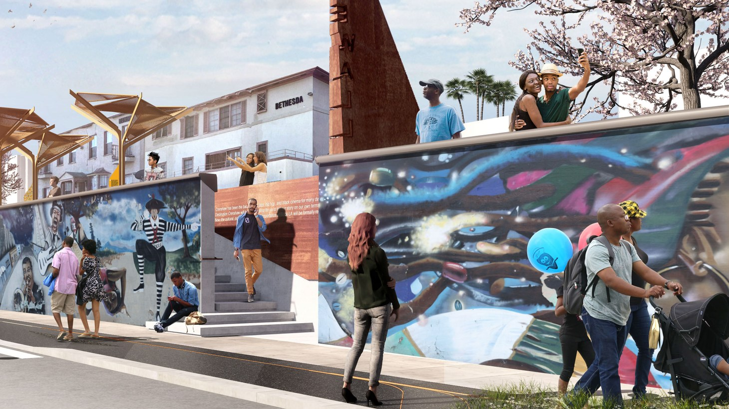 Proposed makeover of the iconic Crenshaw Wall, including art restoration, wall stabilization, and the installation of aparklet, including signage, shade structures, and landscaping.