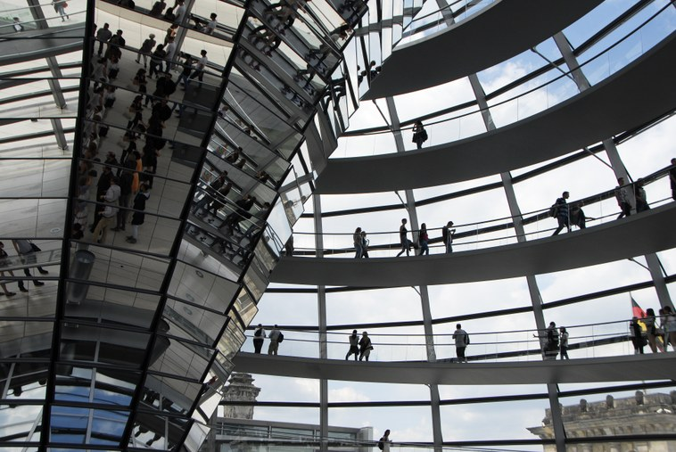 The dome of Berlin's national parliamentary building is made of glass, a symbol of the government's transparency. Ambassador John Emerson works closely with German lawmakers on issues related to the Eurozone.