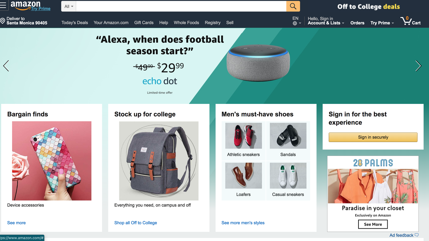 Amazon.com home page, August 26, 2019.