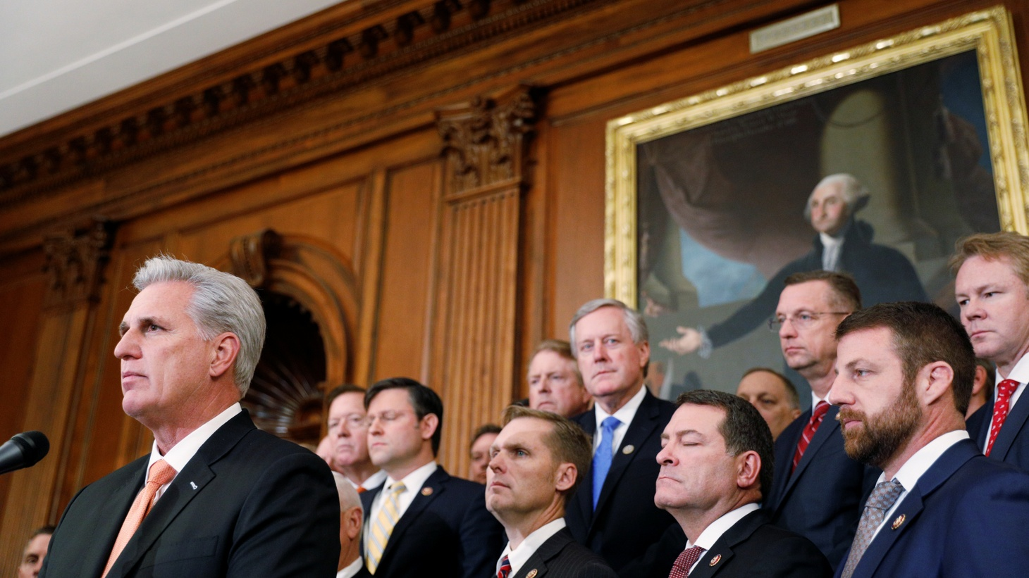 House Minority Leader Kevin McCarthy (R-CA) delivers remarks during a news conference with members of Congress following a vote in favor of impeachment, in Washington, U.S., October 31, 2019.