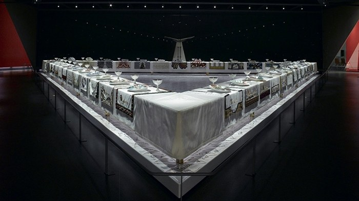 """Judy Chicago, """"The Dinner Party,"""" 1974–79, ceramic, porcelain, and textile, 1463 x 1463 cm."""