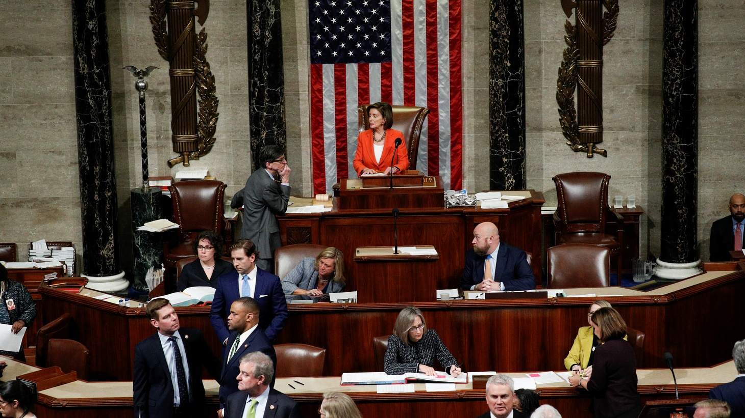 Speaker of the House Nancy Pelosi presides over the U.S. House of Representatives vote on a resolution that outlines the next steps in the impeachment inquiry of U.S. President Donald Trump on Capitol Hill in Washington, U.S., October 31, 2019.