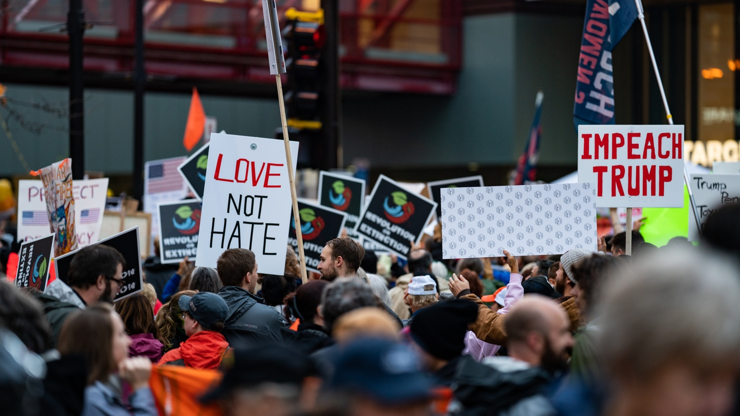 Protesters gathered outside the Target Center in Minneapolis, Minnesota, where President Donald J. Trump held a campaign rally on October 10, 2019.