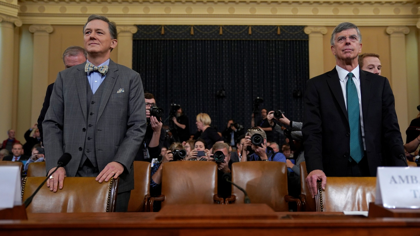 George Kent, Deputy Assistant Secretary of State for European and Eurasian Affairs, appears alongside Ambassador Bill Taylor during a House Intelligence Committee impeachment inquiry hearing into U.S. President Donald Trump on Capitol Hill in Washington, U.S., November 13, 2019.