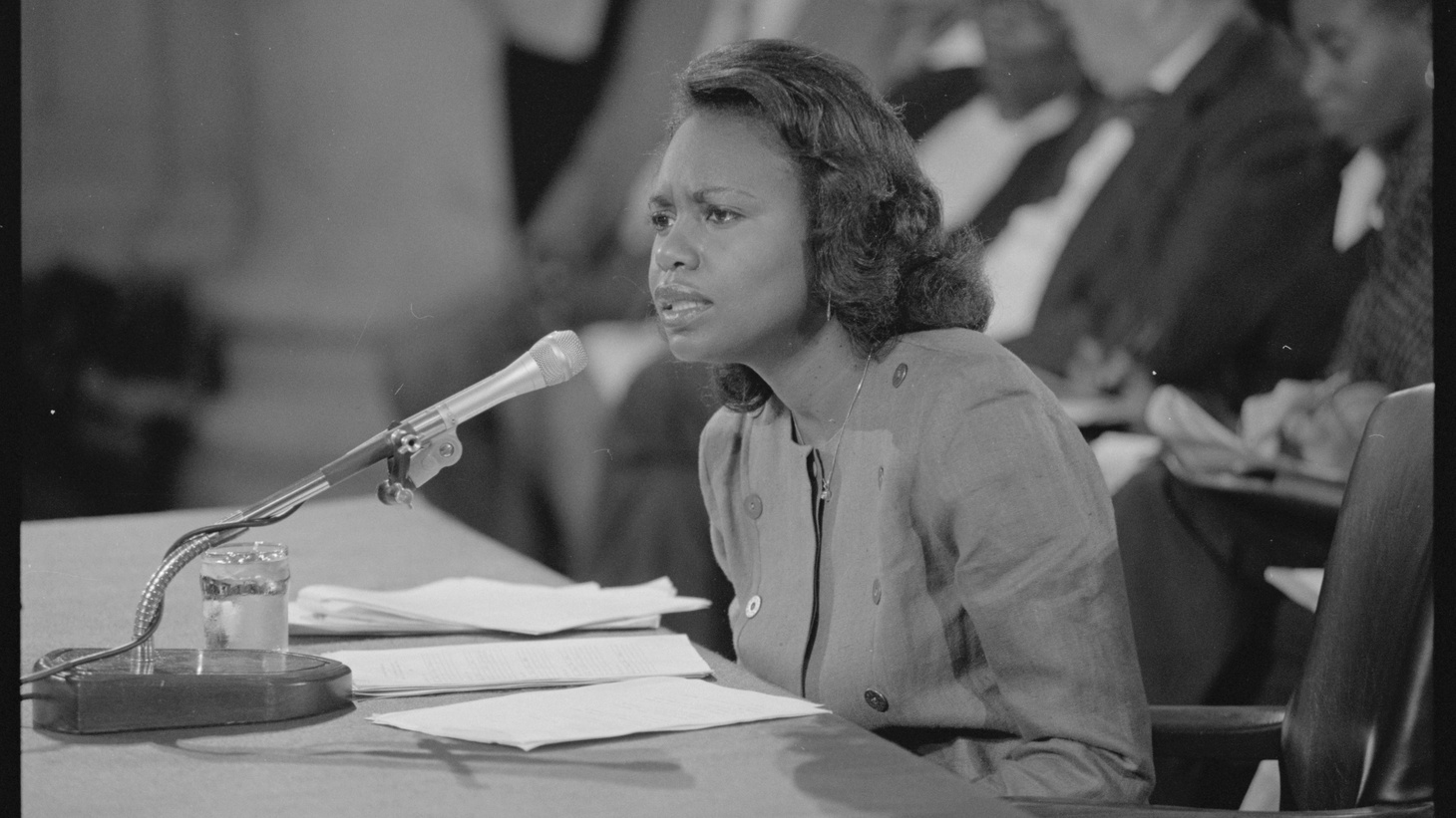 Anita Hill testifies in front of the Senate Judiciary Committee during Clarence Thomas' Supreme Court confirmation hearing, October 11, 1991.