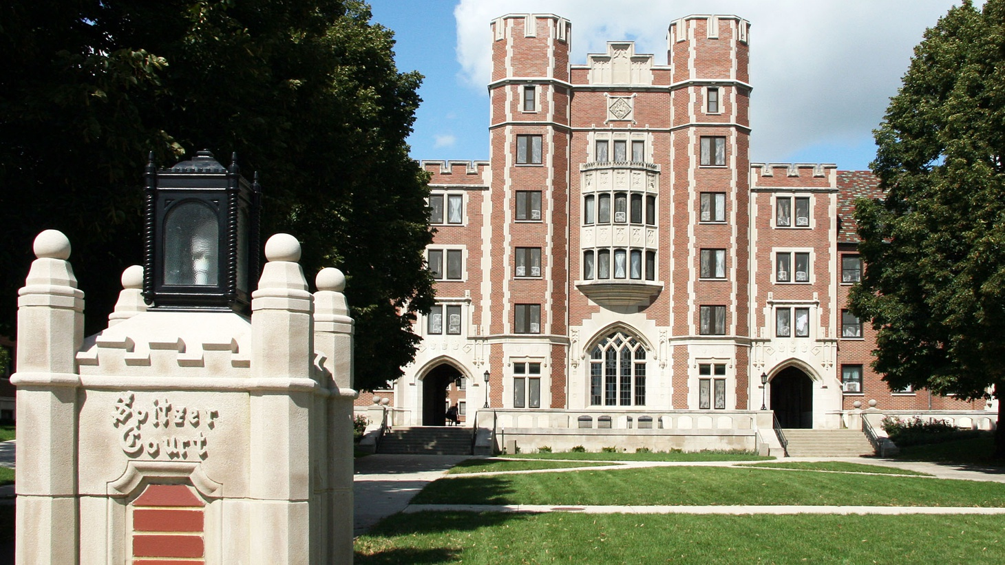 Cary Quad, a student residence hall on the campus of Purdue University in West Lafayette, Indiana. Spitzer Court is the open courtyard within the quad.