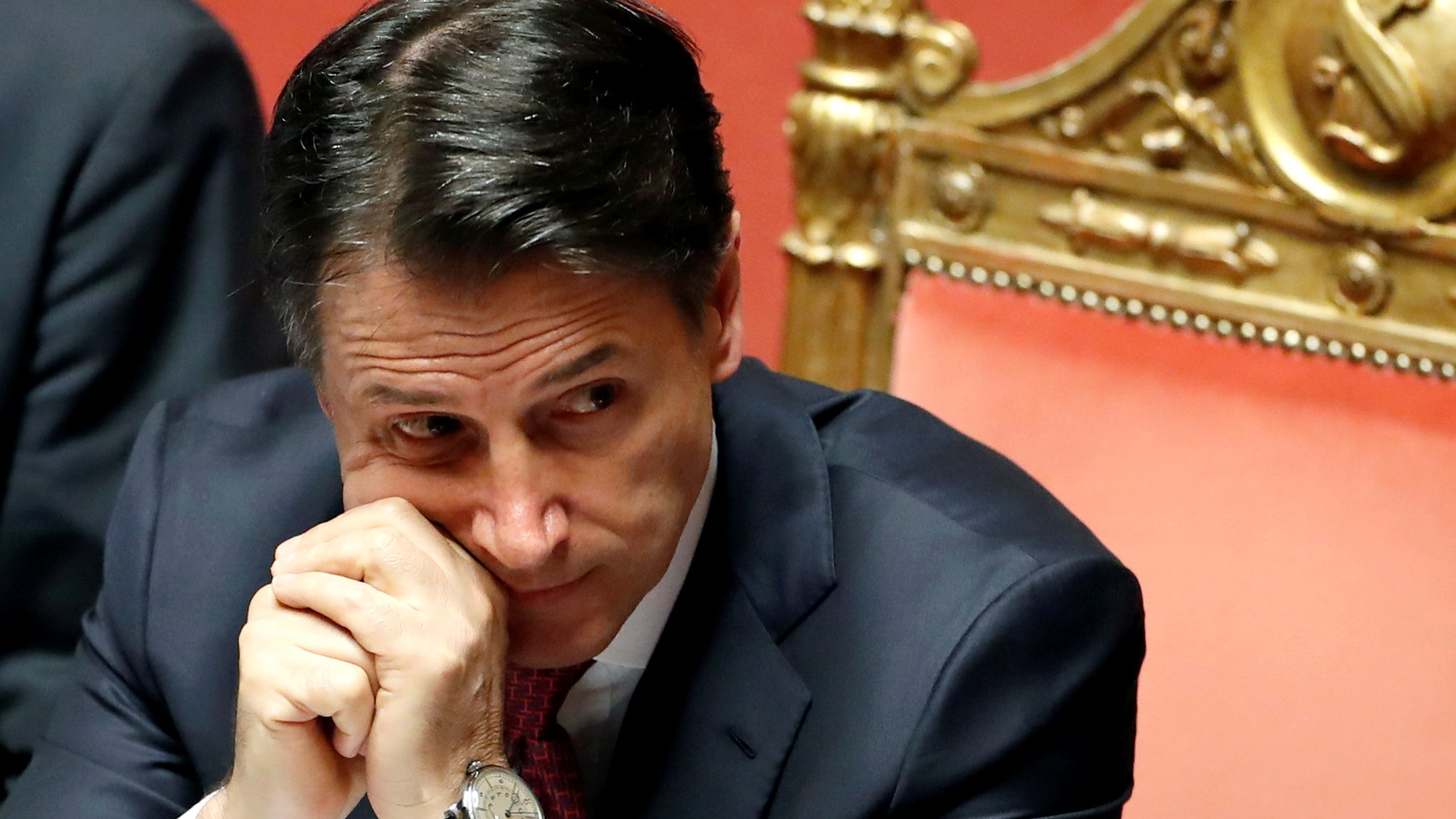 Italian Prime Minister Giuseppe Conte attends a session of the upper house of parliament over the ongoing government crisis, in Rome, Italy, August 20, 2019.