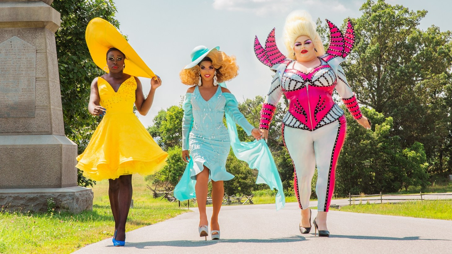 "Bob the Drag Queen (left), Shangela (middle), and Eureka O'Hara (right) star in ""We're Here,"" a new show about transforming small-town Americans into drag queens."