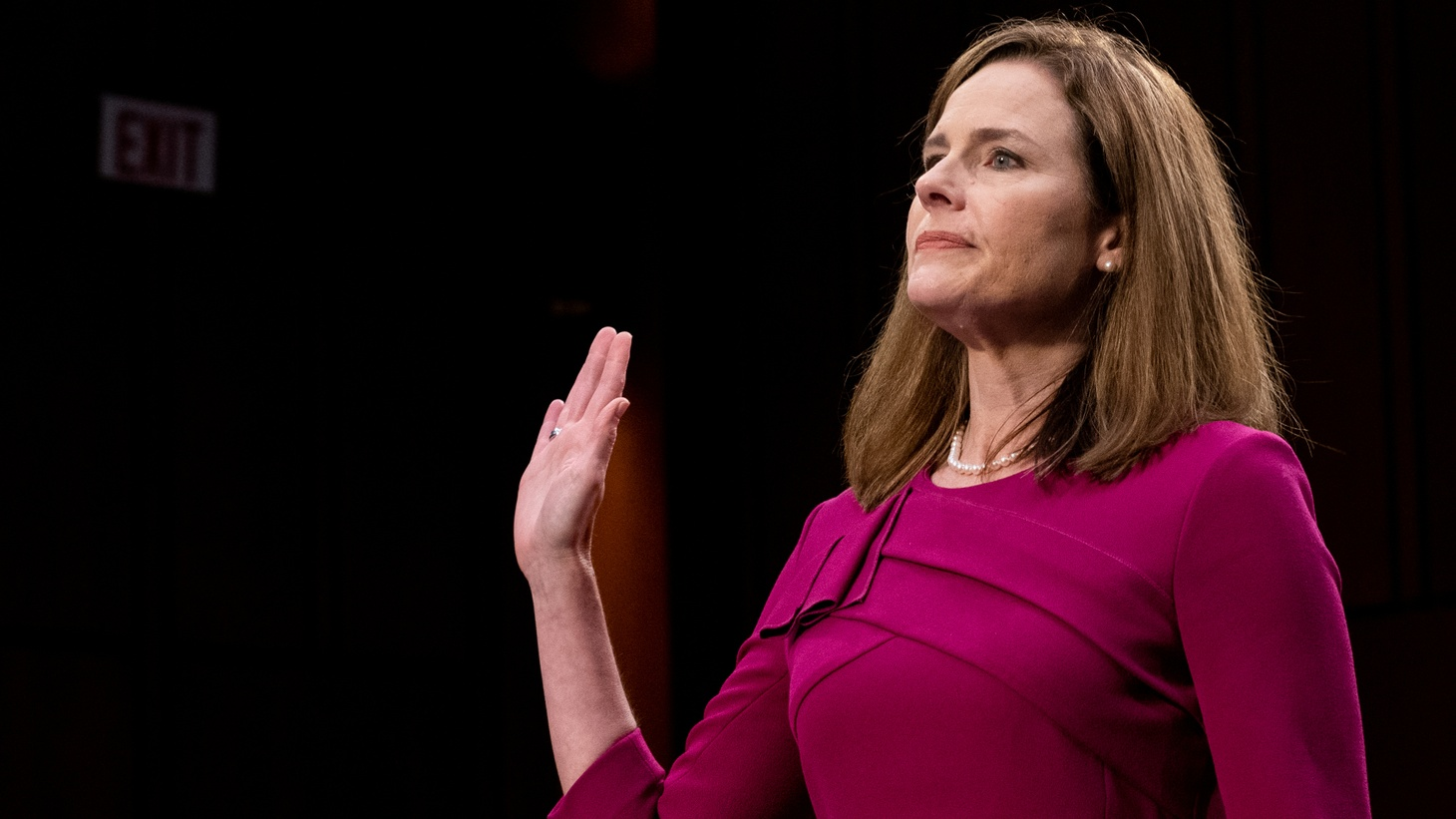 U.S. Supreme Court nominee Amy Coney Barrett is sworn in during her confirmation hearing before the Senate Judiciary Committee on Capitol Hill in Washington , D.C., U.S., October 12, 2020.
