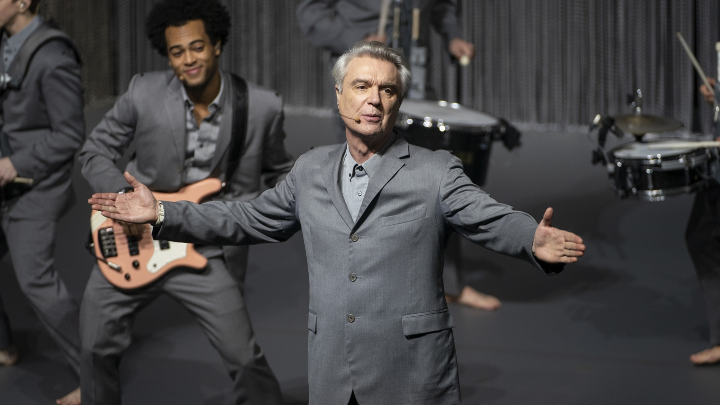 "David Byrne performs in ""American Utopia,"" which premieres on HBO Max on October 17."