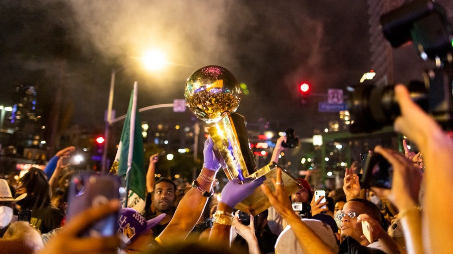 Lakers fans celebrate in the streets of downtown Los Angeles.