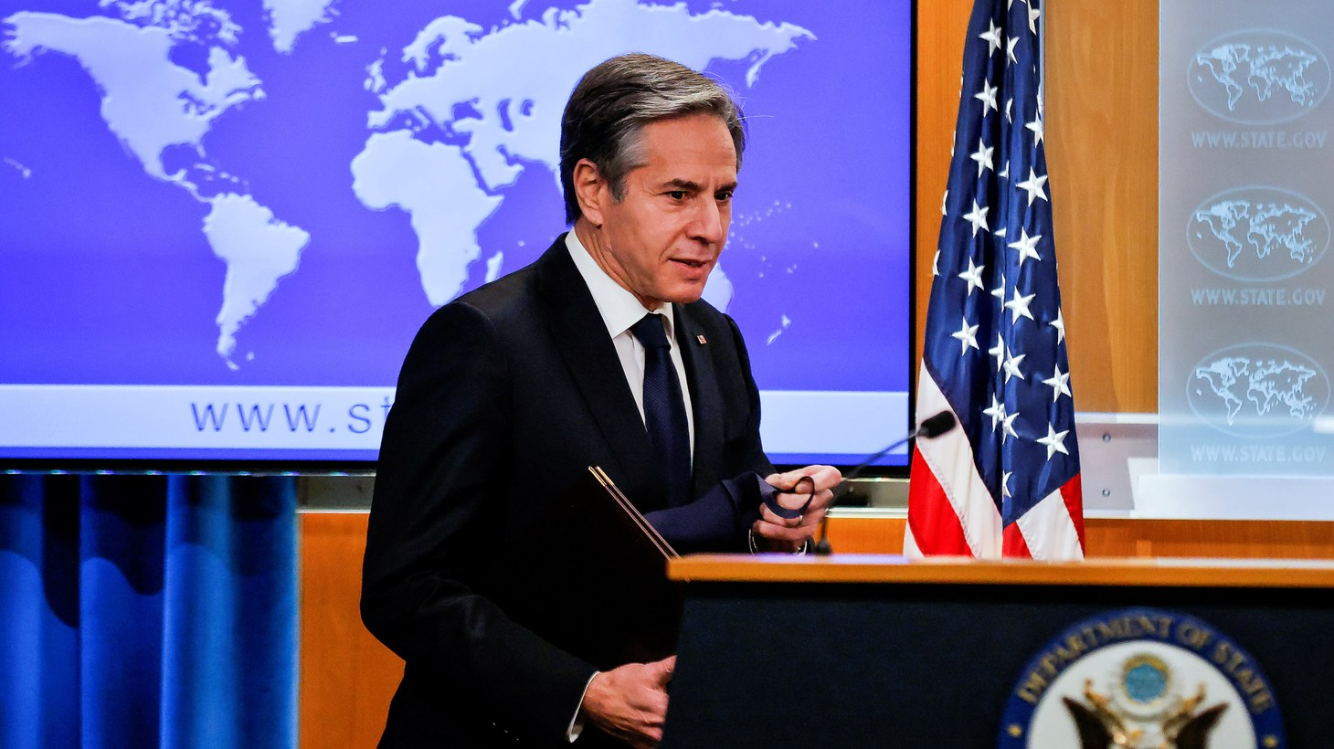 Newly confirmed U.S. Secretary of State Antony Blinken holds his first press briefing at the State Department in Washington, U.S., January 27, 2021.