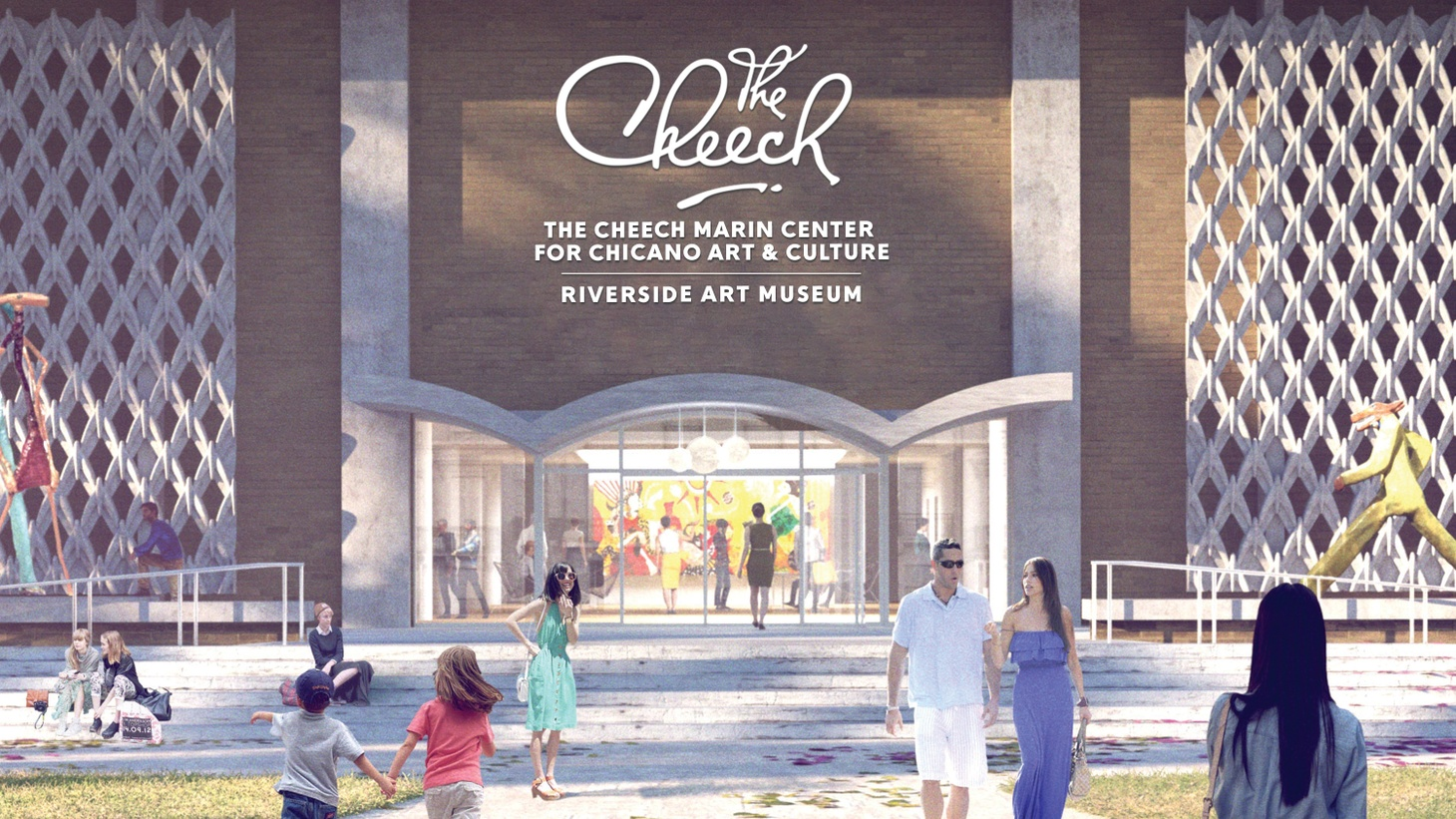 A rendering of the exterior of the The Cheech Marin Center for Chicano Art, Culture and Industry of the Riverside Art Museum.