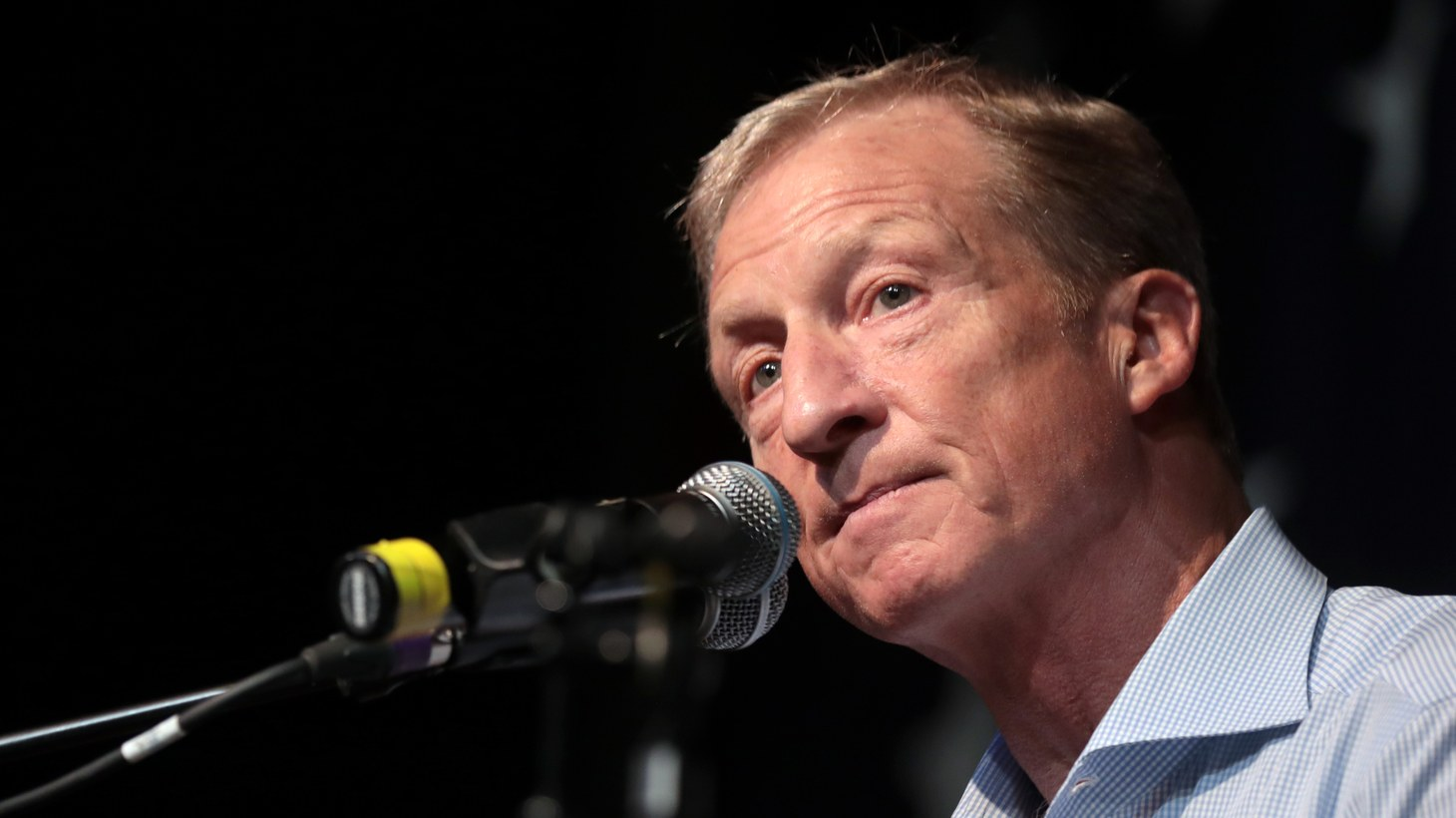 Tom Steyer speaking with attendees at the 2019 Iowa Democratic Wing Ding at Surf Ballroom in Clear Lake, Iowa.
