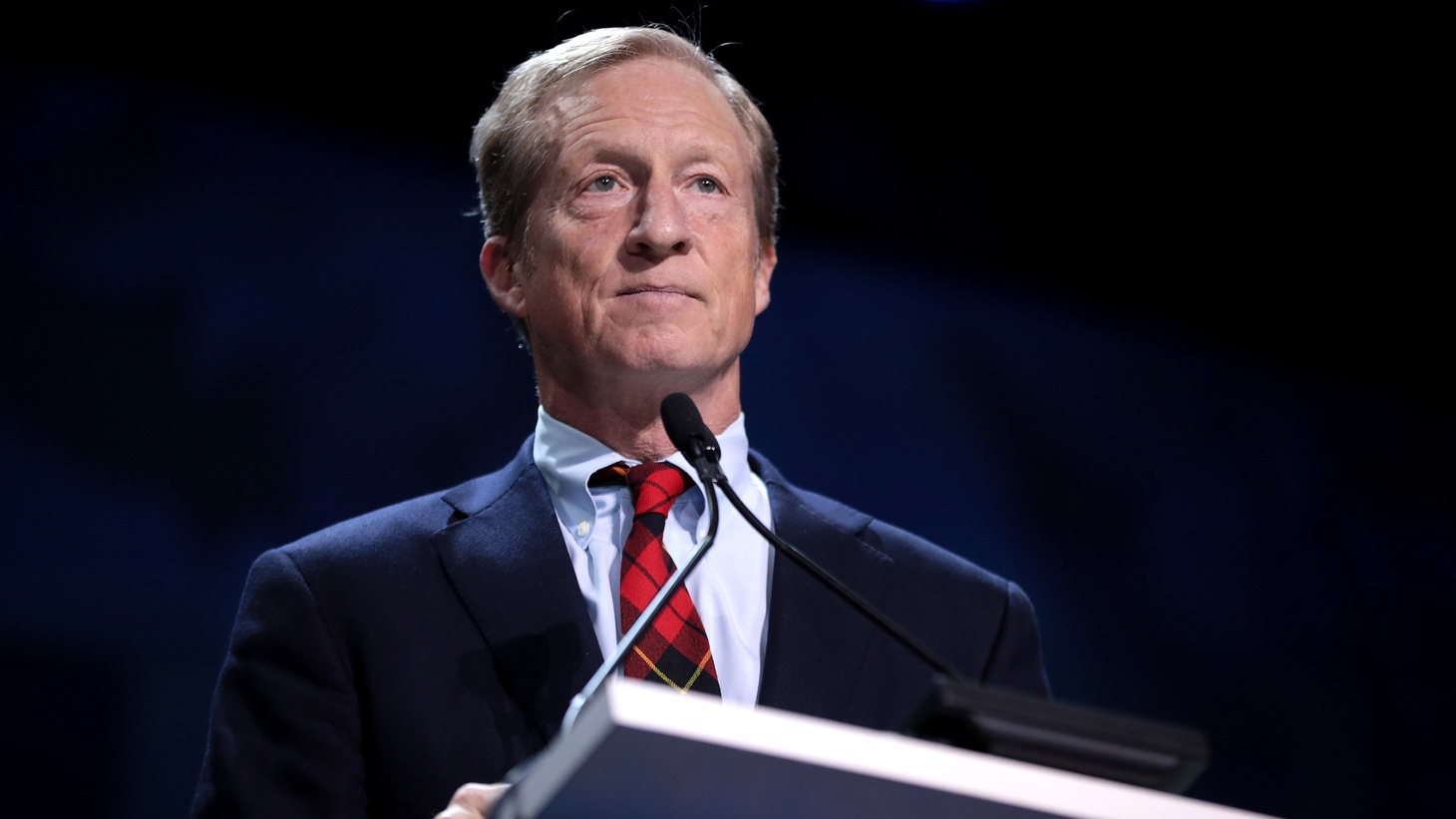 Tom Steyer speaking with attendees at the 2019 California Democratic Party State Convention at the George R. Moscone Convention Center in San Francisco, California, June 1, 2019.
