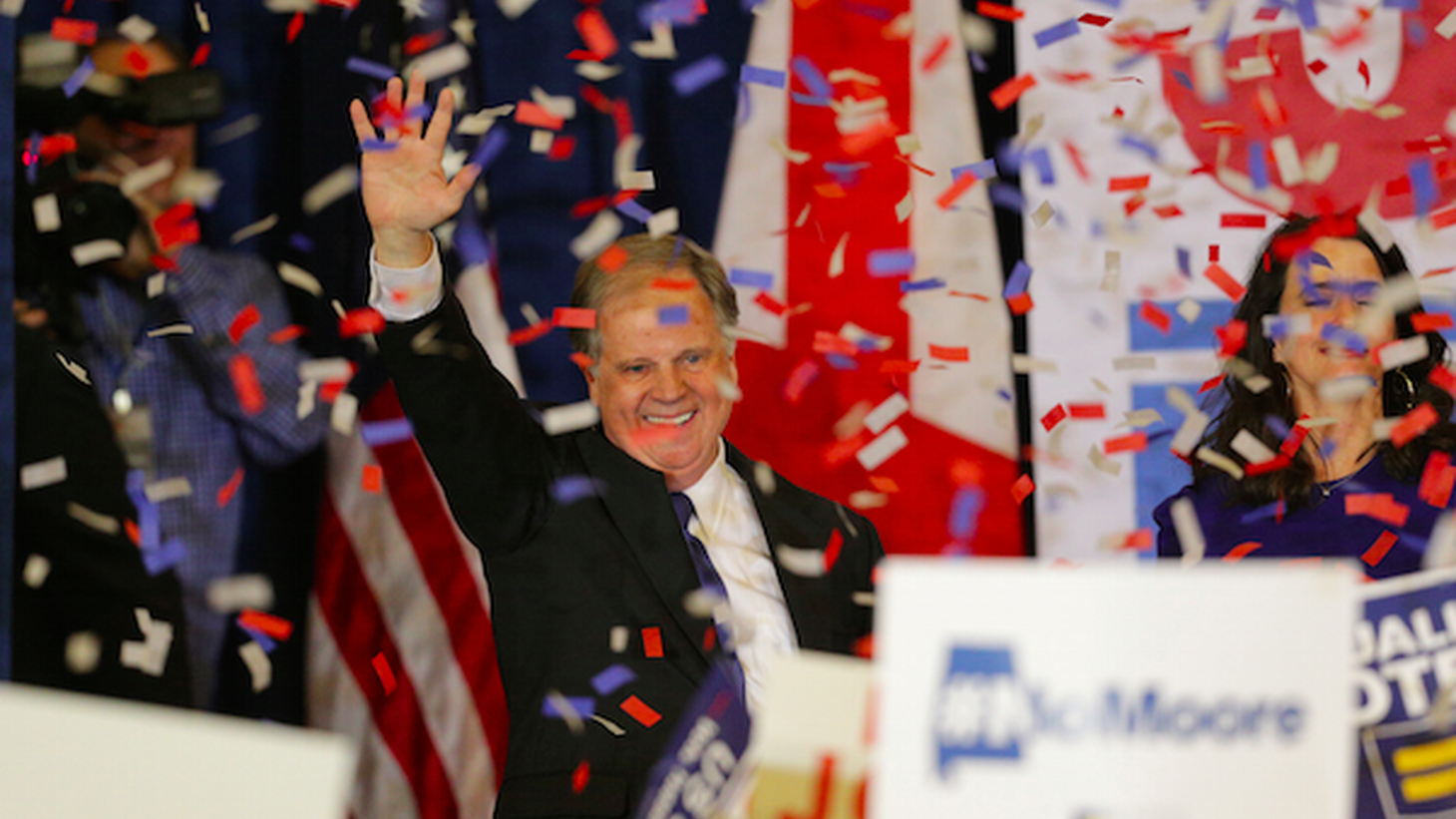 Democrat Doug Jones celebrated a surprise victory last night over Republican Roy Moore in ruby-red Alabama. A year ago, Donald Trump won in Alabama by 28 points.